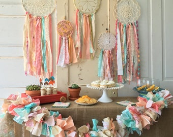 """Dream Catcher, Boho style Coral and Mint dreamcatcher for Boho Baby Shower or Boho Wedding shower or Ceremony, 12"""" handmade Party Decoration"""