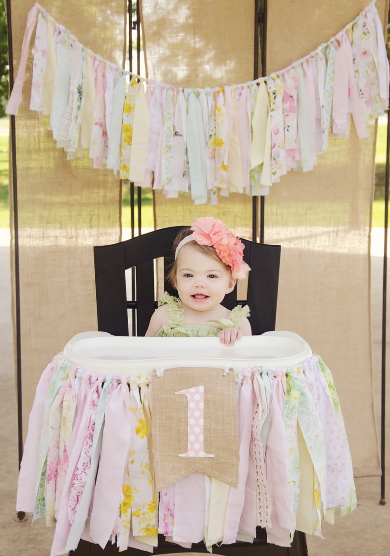 Girls High Chair Banner. First Birthday Party Supplies. image 0