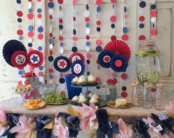 Nautical Baby Shower Decorations Red White and Blue Party Decorations. Polka Dot Backdrop for candy buffet or dessert table