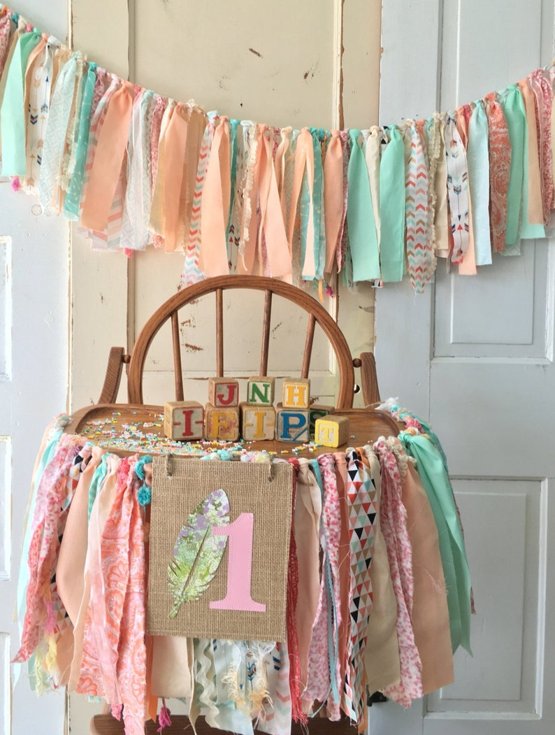 First Birthday Party Decoration Girls High Chair Garland Boho