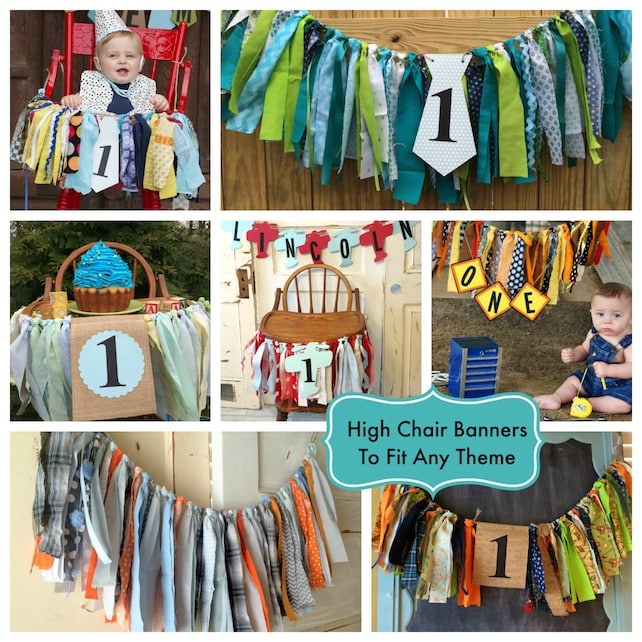 Boys High Chair Banner Custom Made First Birthday Decoration Smash Cake Party