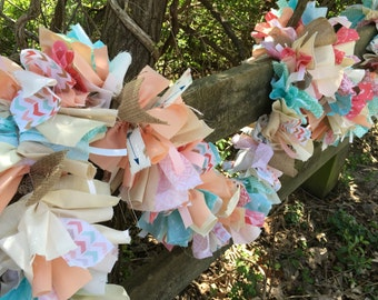 BOHO style Burlap and Lace Fabric Baby Shower Garland.  CORAL and MINT 6-10 Foot Banner.  Eco-Friendly Party Decoration. Custom Colors Avail