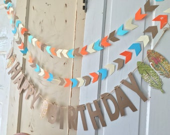 Happy Birthday Banner. Woodland Birthday Party Supplies.  Arrows and Feather Birthday Sign.  Custom Colors Available