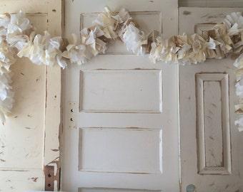 Burlap Wedding Garland 6-10 FT Fabric Lace and Burlap Banner. Wedding or Baby Shower Decoration Handmade Burlap Garland Bunting Rustic Charm