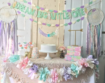 Birthday Decorations Package.  Dream Big Little One Dream catcher Party in a Box.  CUSTOM colors available. FREE shipping