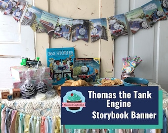 Thomas the Tank Engine Book Page Banner.  Thomas Train Garland. 12 Pennants for Baby Shower, Birthday Party READY to SHIP