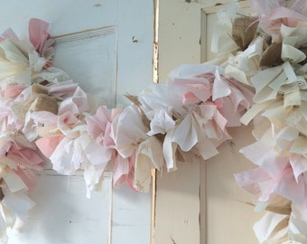 Burlap and Pink Girls Baby Shower Decoration.  6-10 foot fabric Garland Banner. Burlap and Pink Party Decor & Backdrop for Baby Girl Shower