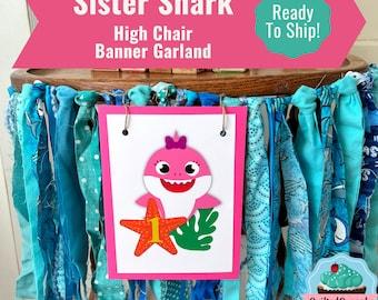 Pink Baby Shark High Chair Banner /Sister Shark Birthday Party Supplies // Baby Shark High Chair Decoration/Smash Cake Banner/ Pink Shark