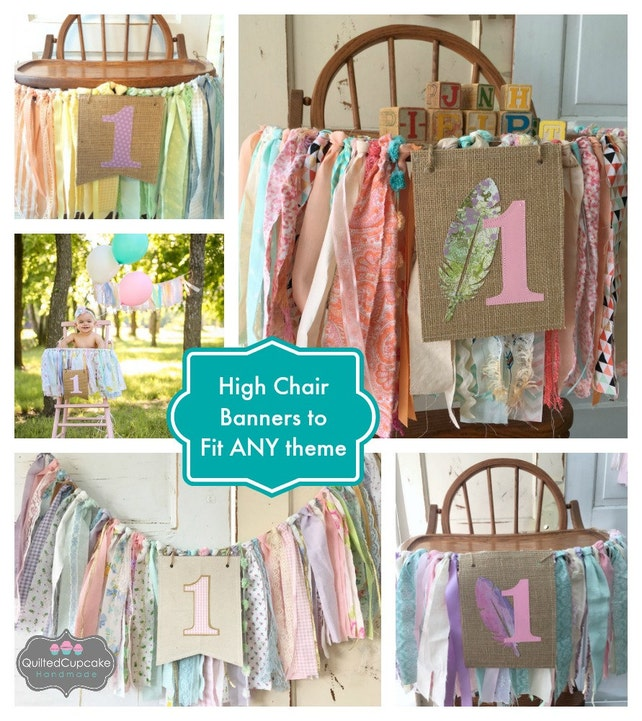 Girls High Chair Banner Custom Made First Birthday Decoration Smash Cake Party