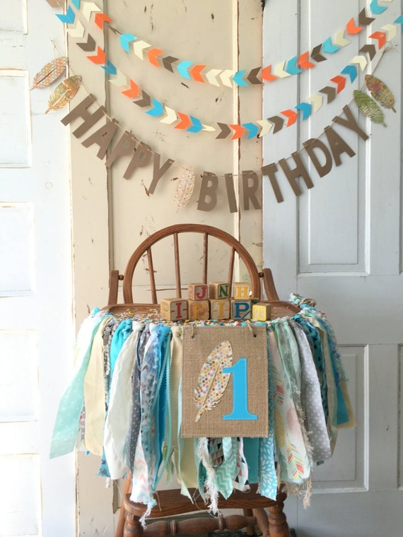 Boys First Birthday High Chair Banner Party Supplies Wild And Free Baby With Burlap Flag Custom Colors TOO