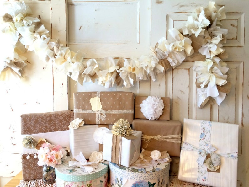 Handmade Wedding Idea. Burlap and Natural Fabric Garland 6-10 image 0