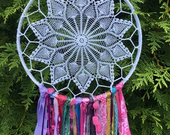 """Dream Catcher in Gypsy Tribal style.  Dreamcatcher for Party Decor, Wedding, Shower.  CUSTOM colors TOO 12"""" handmade Party Decoration"""
