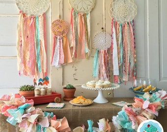 Dreamcatcher Party Backdrop Package. Boho Dream Catcher Party in a Box. Baby Shower or Birthday/ 5 dreamcatchers plus Garland/READY TO SHIP