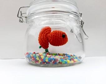 No Fuss Fish In A Jar Crochet Fish In Jar No Fuss Pet Desk Ornament Gift Goldfish Fuss Free Fish Tank Faux Taxidermy Fathers Day Gift