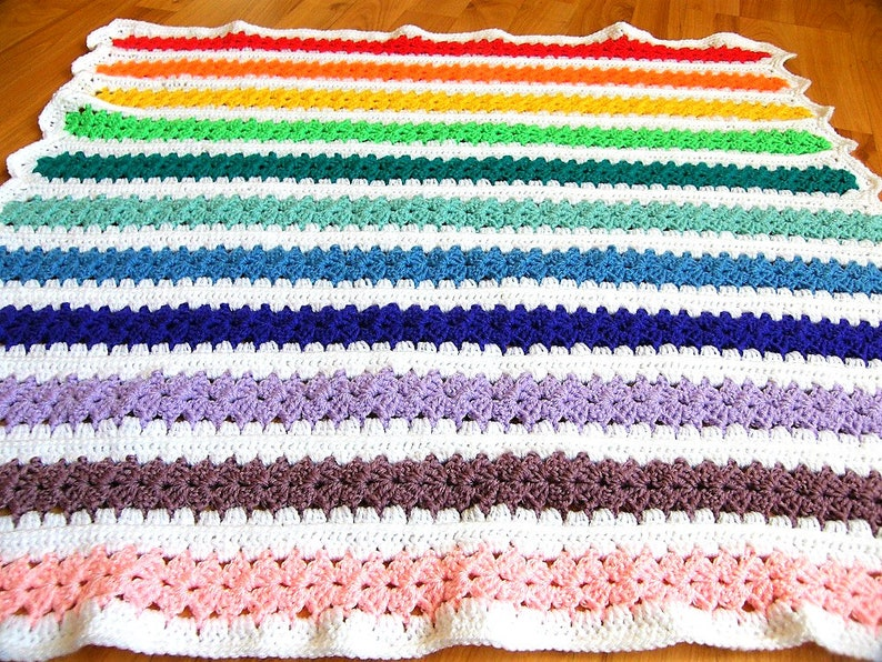 Crochet Baby Blanket Rainbow Baby Blanket Crochet Rainbow Etsy