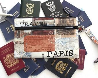 Family Passport Holder - Family Travel Wallet - Travel Document Holder - Paris Passport Case - Large Passport wallet - Boarding Pass Wallet
