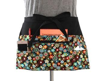teacher apron with pockets - pocket apron - waitress apron - waist apron with zipper pocket - server apron - half apron - vendor apron