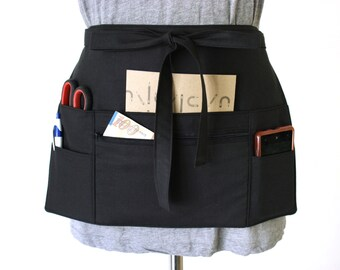 90be6f8ec85 black half apron - black waitress apron - black teacher apron - money apron  - vendor apron - zipper pocket - waist apron - utility apron