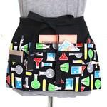 black teacher apron - gift for science teacher - teacher appreciation gift - zipper pocket utility apron - science geek gift - waist apron