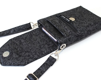 7edaa22862 Black cell phone purse - cell phone wallet - small crossbody purse - cell  phone pouch - small black purse - gift for her - mobile phone bag