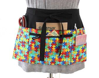 teacher apron - autism awareness - pocket apron - half apron - back to school - preschool apron - nursery teacher kindergarten teacher gift