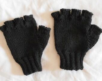 3edf2d3915570 Men's Wool Fingerless Gloves - Black