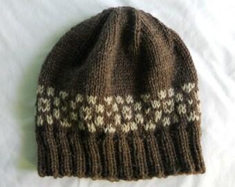 Men s Wool Winter Hat - Dark brown with oatmeal Fair Isle border 13e288dec58d