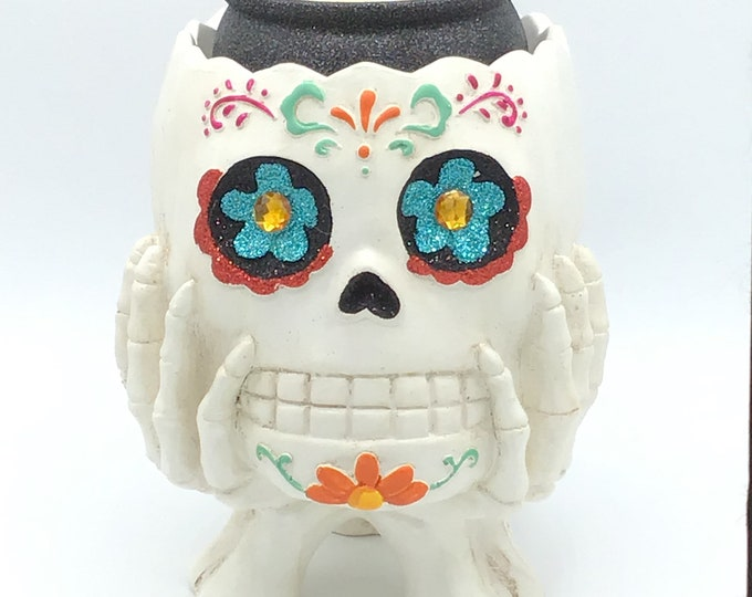 Day of the Dead Glitter Skull Soy Wax Candle