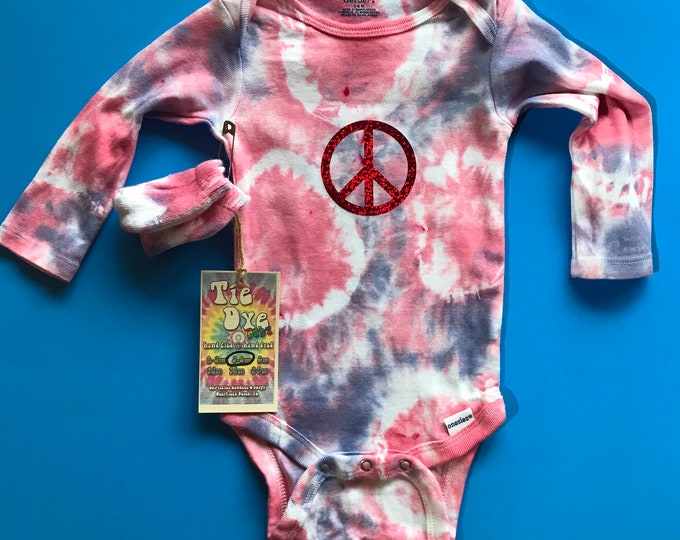 Hippie tie dye baby onesie peace sign holographic one of a kind 3-6 mos.