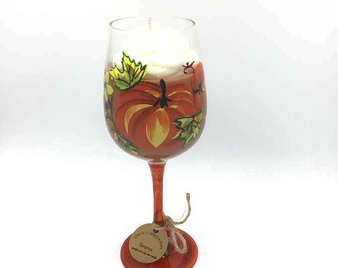Smores Soy Wax Candle Fall colors holiday goblet