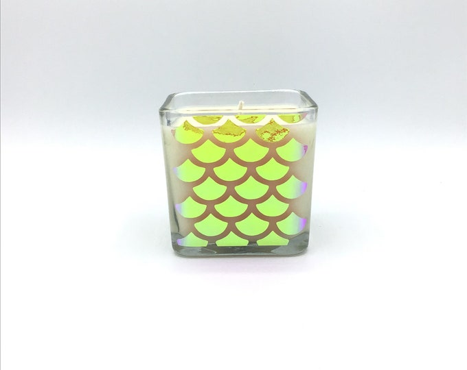 Holographic Mermaid Scales Soy Wax Candle Custom Fragrance Highly Fragranced