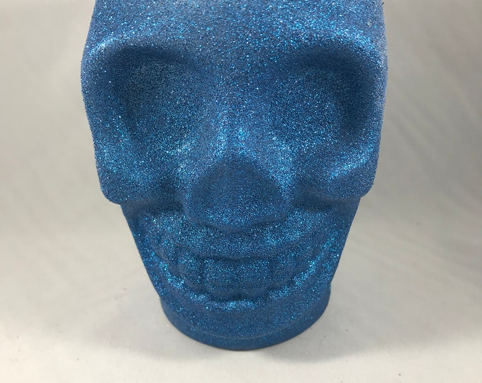 Blue Glitter Skull Soy Wax Candle
