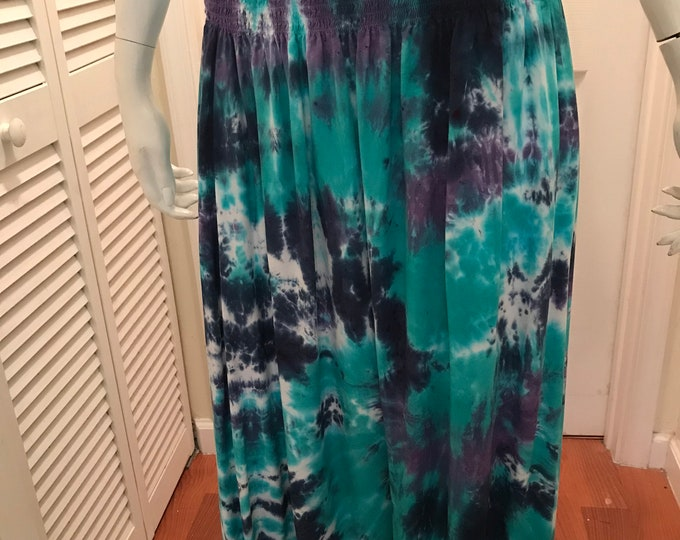 Hippie tie dye smocked skirt/sundress size SMALL one of a kind