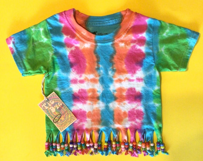 Hippie tie dye tshirt size Small kids girls 2T-3T beads and fringe
