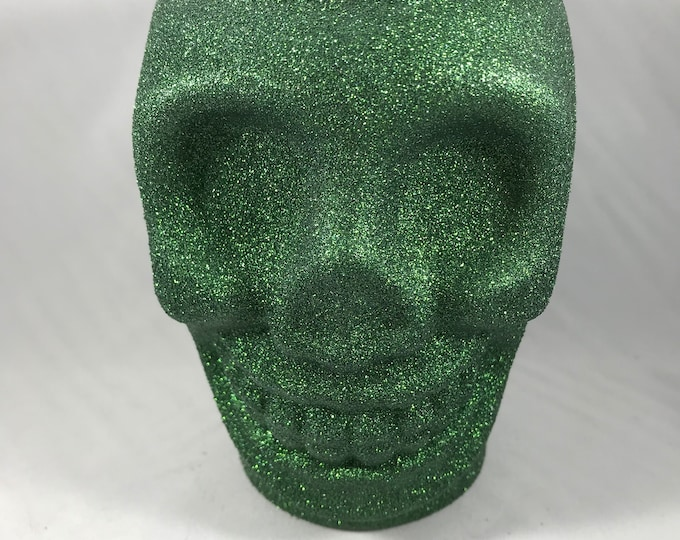 Green Glitter Skull Soy Wax Candle