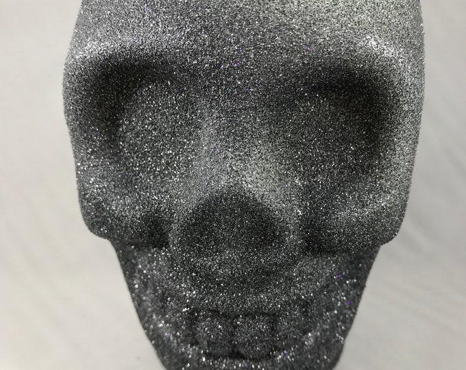 Black Glitter Skull Soy Wax Candle