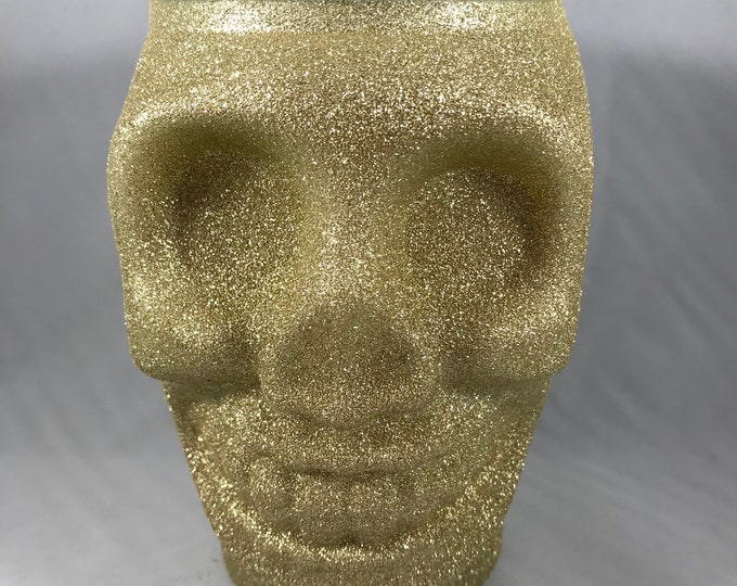 Gold Glitter Skull Soy Wax Candle