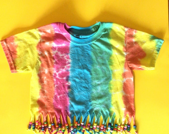 Hippie tie dye tshirt size Small kids girls 4T beads and fringe