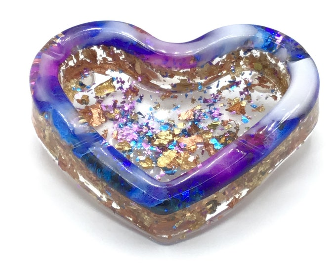 One of a kind hand poured resin heart shaped ashtray glitter and multicolor flecks