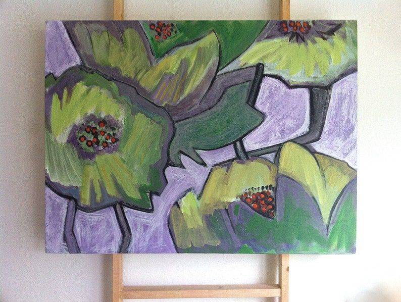 Lime Green Poppies Painting Flower Art Painting Abstract image 0