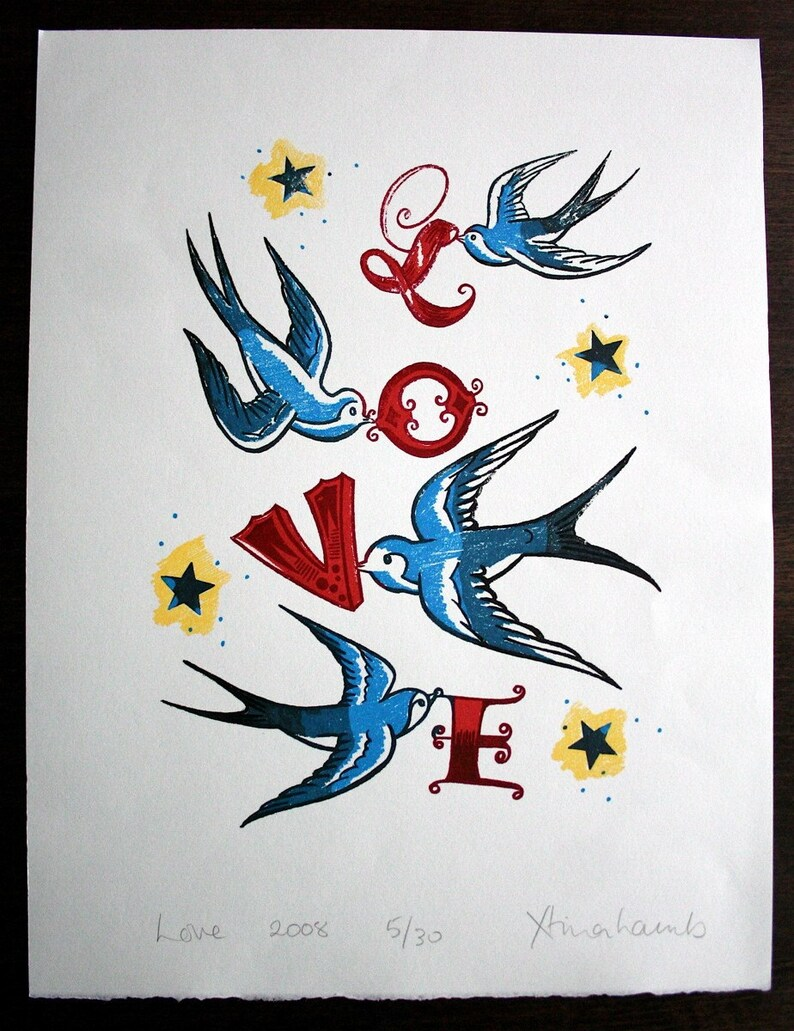 Love print tattoo style swallows image 0