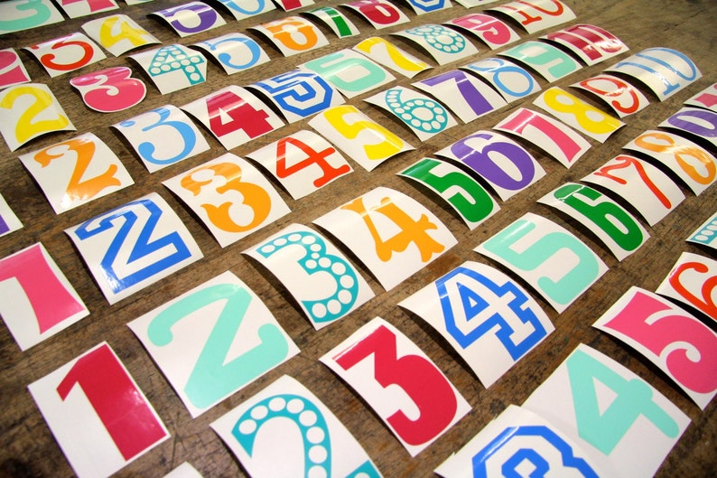 Colourful vinyl number wall stickers image 0