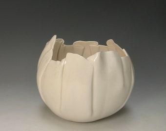 hand built porcelain bowl  ...   balloon bowl   ...   translucent