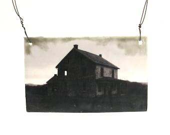 hand built porcelain plaque ...   photograph  ...   encaustic  ...  lonely barn