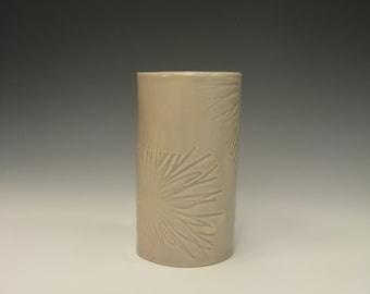 hand built porcelain vessel  ...   pale gray celadon   ...   mid century modern starburst