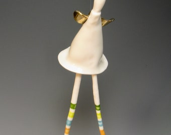 porcelain free spirit angel   ...   modern  hanging angel  ...  whimsical character