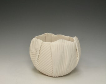 hand built porcelain balloon bowl ...   creamy white  ...  linear