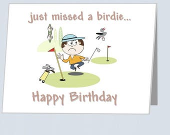 Golfing Birthday Card UK Funny Golf Just Missed A Birdie Greeting Cards With Embellishments Birthdays For Boyfriend Husband