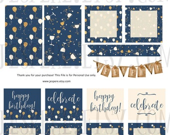 Happy Birthday/Celebrate weekly kit, Happy Planner Classic, Printable Stickers