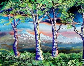 Purple Sadows #2 - Print of Nature Landscape Art by Mizu